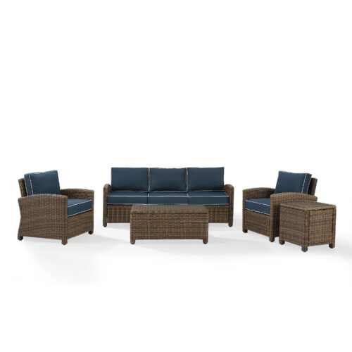Crosley Bradenton 5 Piece Outdoor Wicker Sofa Conversation Set With Navy Cushion in Weathered Brown in Red/Brown