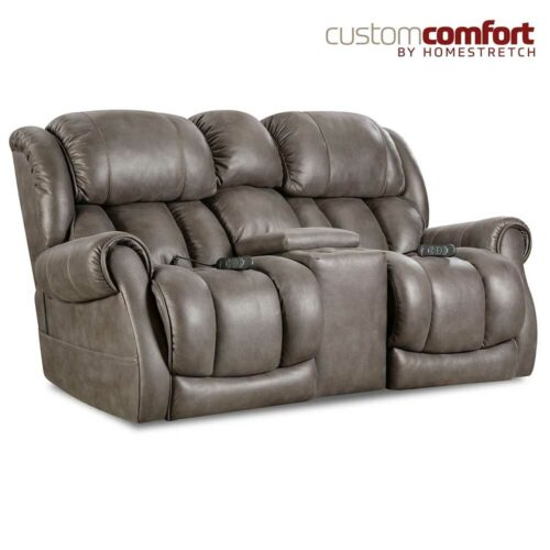 HomeStretch Atlantis Power Loveseat Sofa With Power Headrest And Power Lumbar Foot Extension in Slate, 76 in. W x 40 in. D x 41 in. H
