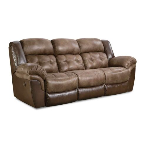 HomeStretch Fenway Power Reclining Sofa in Taupe And Espresso, 93 in. W x 41 in. D x 43 in. H