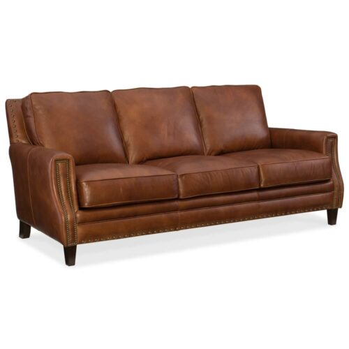 Hooker Furniture Exton Carson Stationary Sofa, 83 in. W x 41.5 in. D x 36.5 in. H in Brown