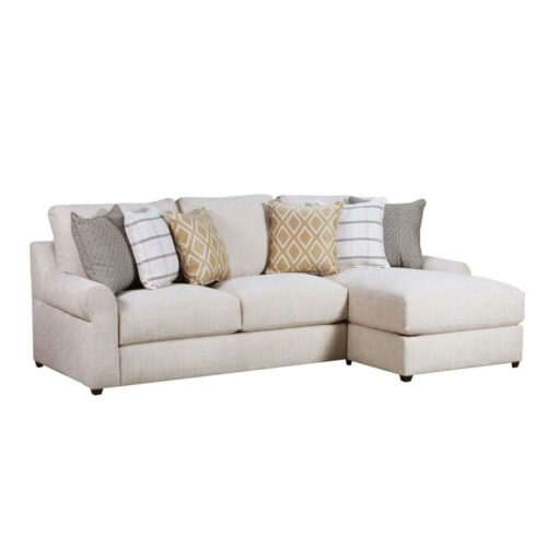 Lane Furniture Home Furnishings Luxe Seating Pompeii Right Arm Facing Chaise Sofa in Snow, 39 in. W x 65 in. D X 39 in. H