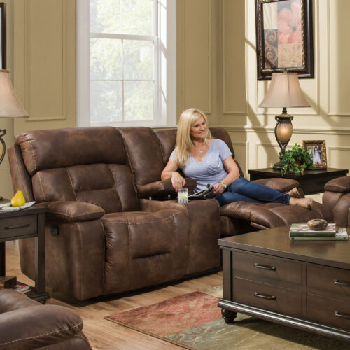 Lane Furniture Simmons Upholstery By Home Furnishings Dorado Walnut Power Loveseat Sofa, 75 in. W x 36 in. D x 40 in. H