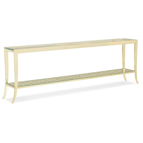 Caracole Classic in A Holding Pattern Console Table, 82 in. W x 11.5 in. D x 26 in. H in Gold