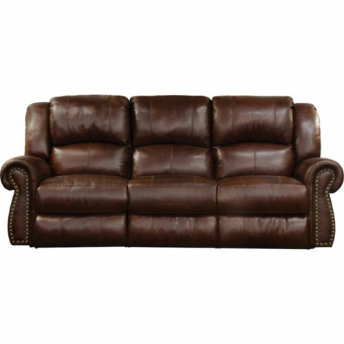 Catnapper Messina Power Headrest With Lumbar Power Lay Flat Reclining Sofa in Walnut, 90 in. W x 41 in. D x 42 in. H | 100% Steel