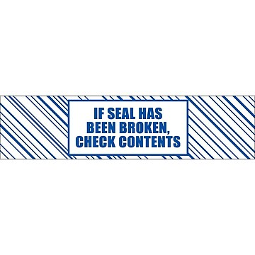 """Tape Logic 3"""" x 110 yds. x 2.5 mil """"IF SEAL HAS BEEN..."""" Security Tape, Blue/White, 6/Pk"""